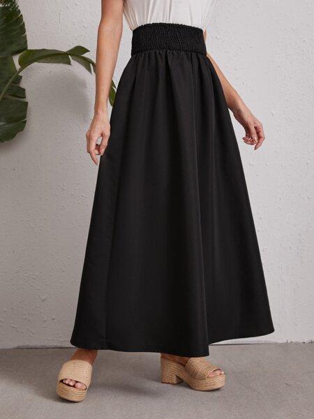 Shirred Waist Maxi Skirt