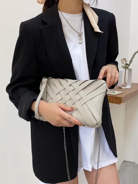 Braided Clutch Bag With Wristlet