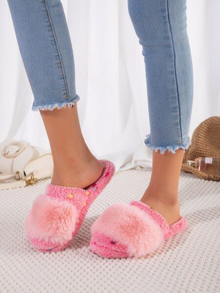 Polka Dot Fluffy Slippers