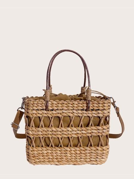 Drawstring Design Straw Satchel Bag