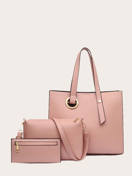 3Pcs Minimalist Two Tone Bag Set