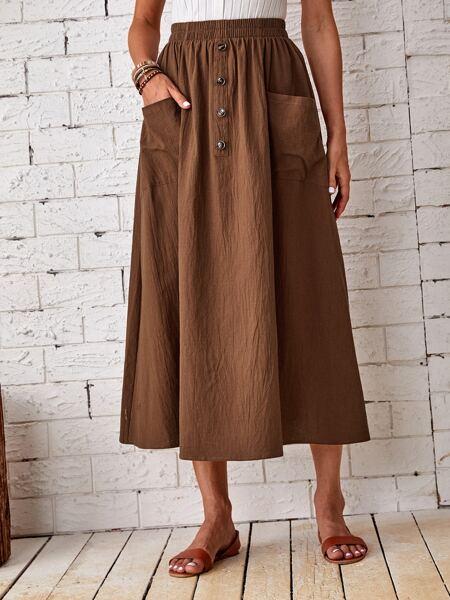 Dual Pockets High Waisted Skirt