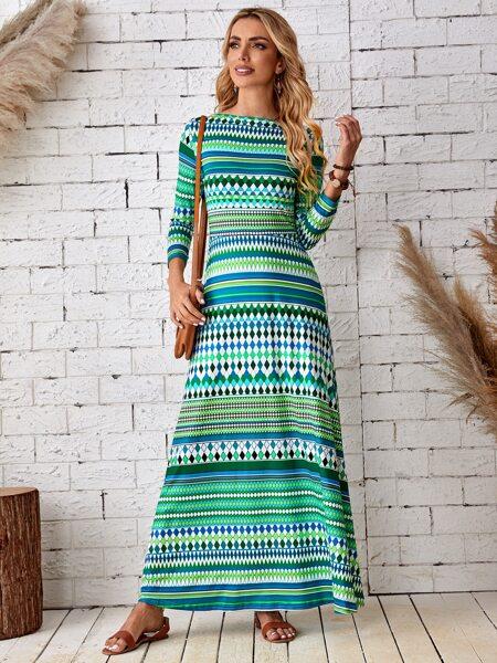 Argyle & Striped A-line Dress