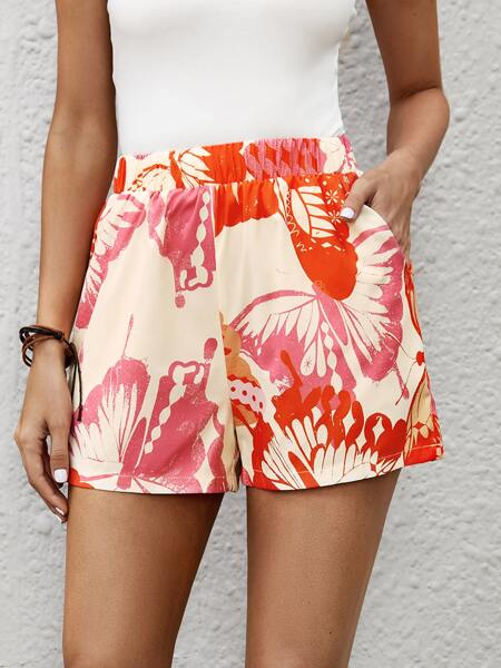 Butterfly Print Elastic Waist Shorts