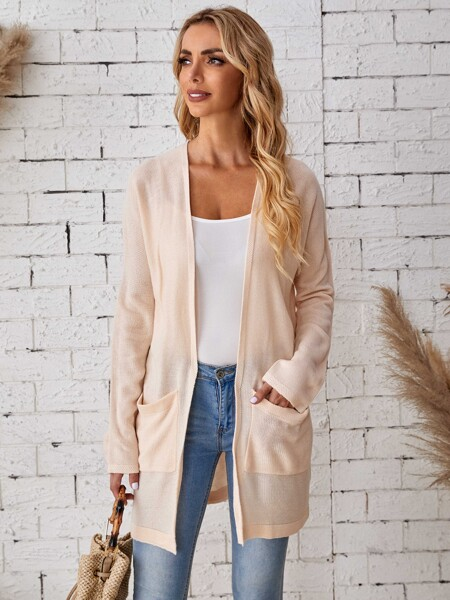 Solid Open Front Dual Pocket Batwing Sleeve Cardigan