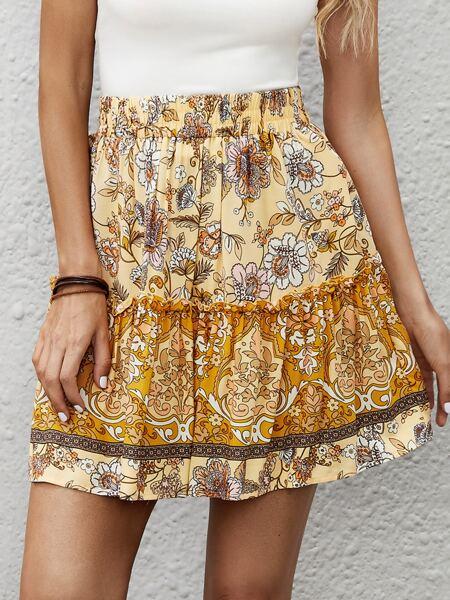 Floral Print Frill Ruffle Hem Skirt