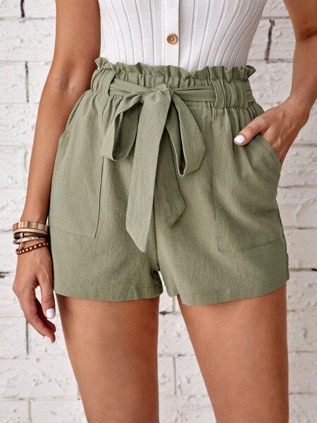 Paper Bag Waist Belted Shorts