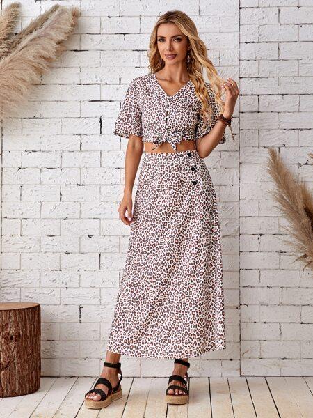 Knot Hem Leopard Blouse & Skirt