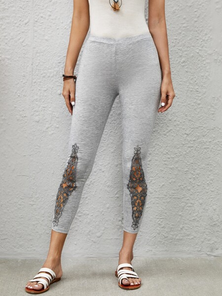 Contrast Lace Panel Cropped Leggings