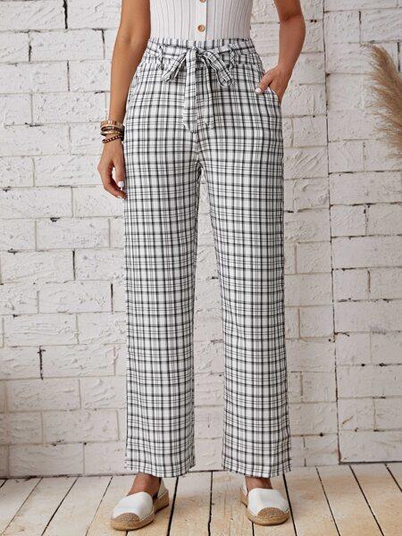 Plaid Self Tie Pants