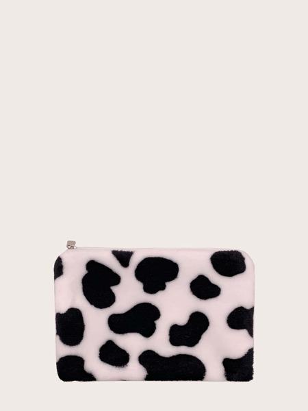 Fluffy Cow Pattern Clutch Bag