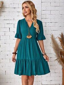 Solid Flounce Sleeve Dress