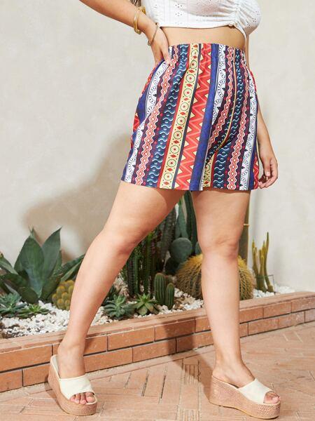 Plus Geo Print Wide Leg Shorts
