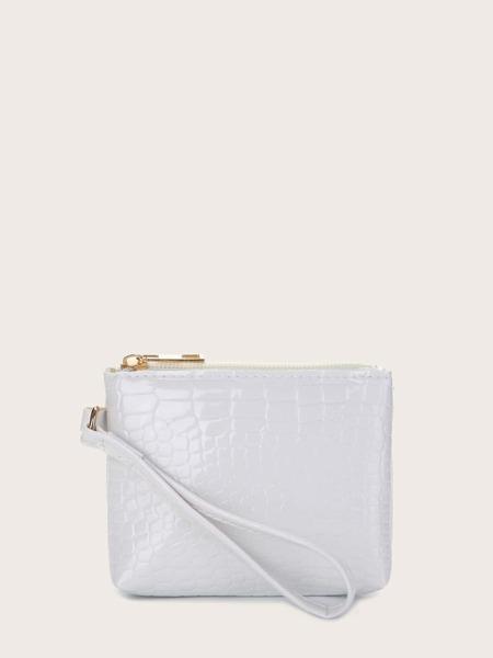 Mini Croc Embossed Clutch Bag
