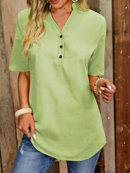 Solid Notched Neck Blouse