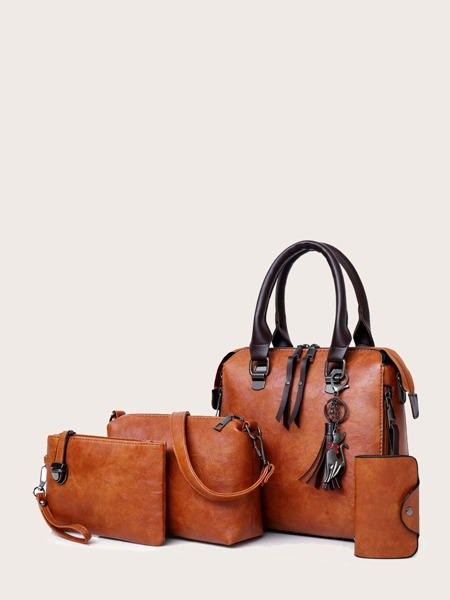 4pcs Tassel Decor Satchel Bag Set