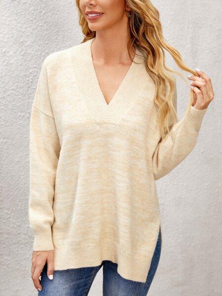 V Neck Drop Shoulder Split Hem Sweater