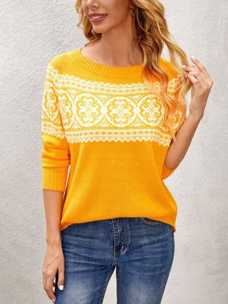 Mandala Pattern Raglan Sleeve Sweater