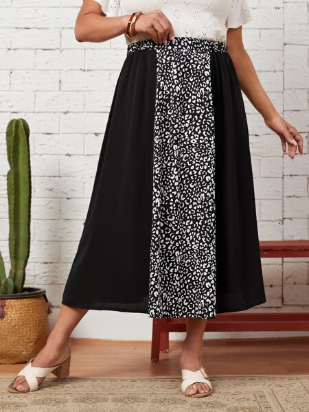 Plus Leopard Spliced A-line Skirt