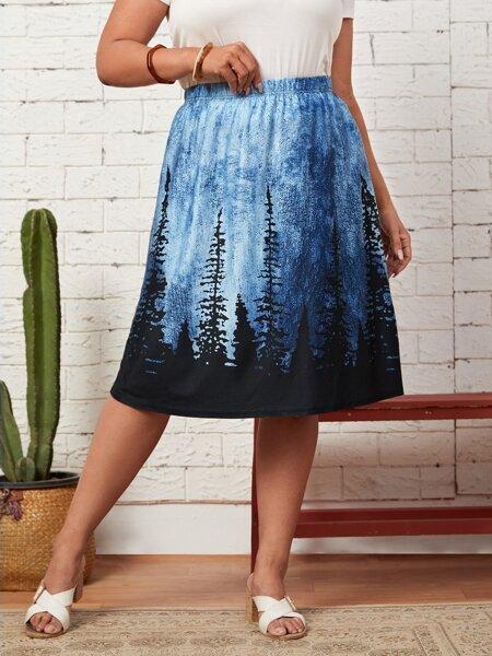 Plus Tree Print A-line Skirt