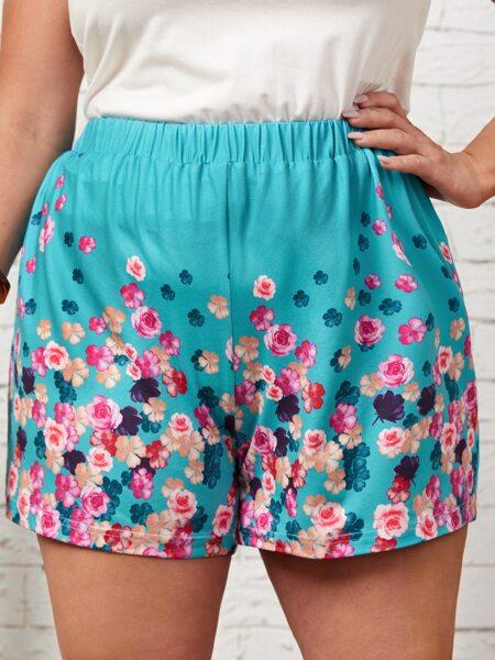 Plus Floral Print Shorts