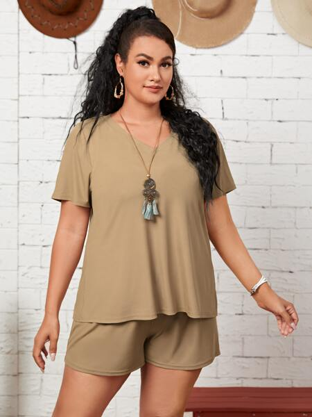 Plus Solid V Neck Top & Shorts