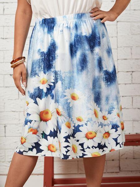 Plus Tie Dye Floral A-line Skirt