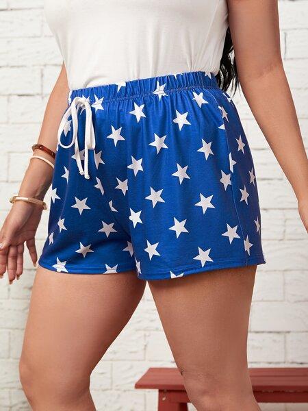 Plus Star Print Tie Front Shorts
