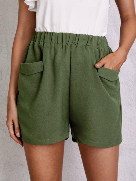 Solid Dual Pocket Shorts