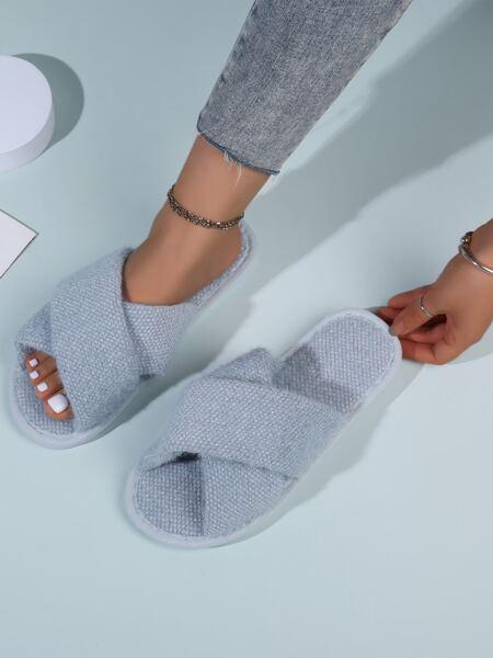 Cross Strap Open Toe Slippers