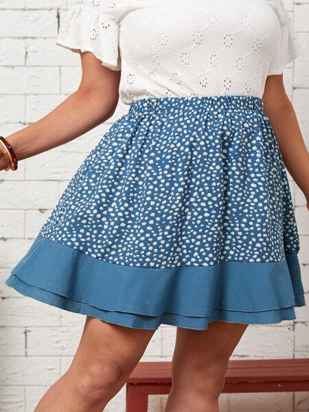 Plus Dalmatian Print Layered Hem Skirt