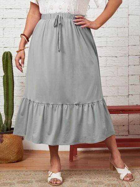 Plus Knot Front Ruffle Hem Skirt