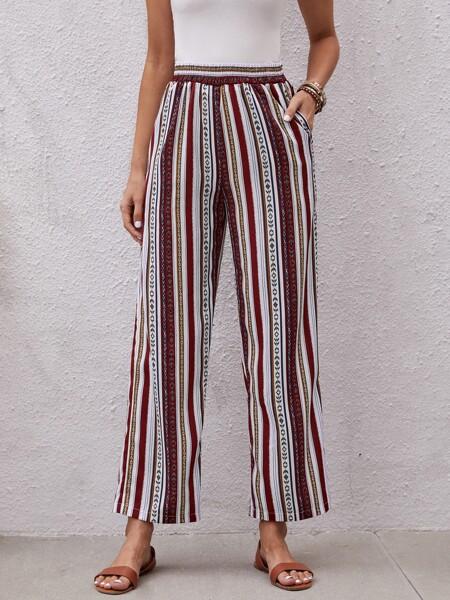 Striped & Geo Print Wide Leg Pants