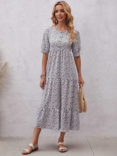 Ditsy Floral Half Button Ruffle Hem Dress
