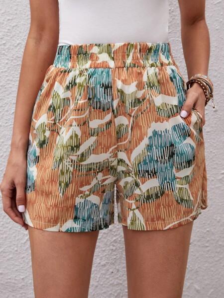 Plants Print Slant Pocket Shorts