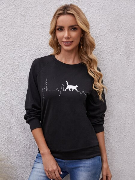 Cat Print Raglan Sleeve Pullover