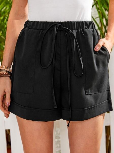 Pocket Tie Front Wide Leg Shorts