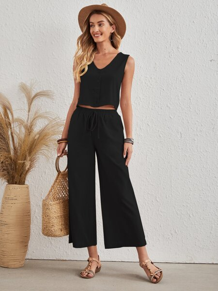 Button Front Tank Top With Wide Leg Pants