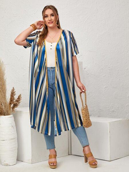 Plus Striped Long Kimono