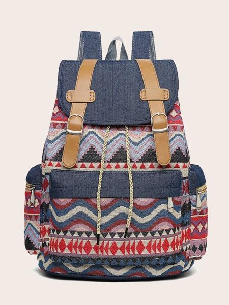 Geo Pattern Flap Backpack