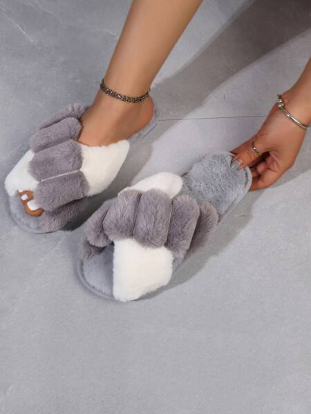 Two Tone Cross Strap Fluffy Slippers