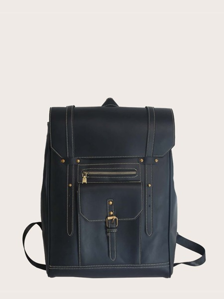 Stitch Detail Flap Backpack