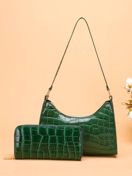 Croc Embossed Shoulder Bag With Purse