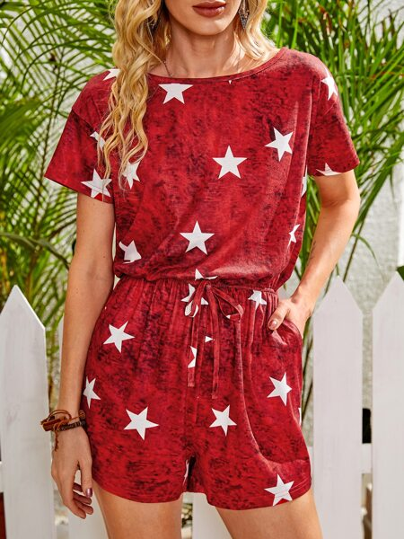 Space Dye Star Print Knot Front Romper