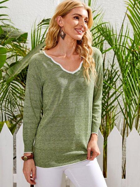 Space Dye V-neck Sweater