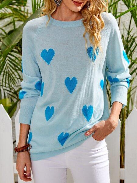Heart Pattern Raglan Sleeve Sweater