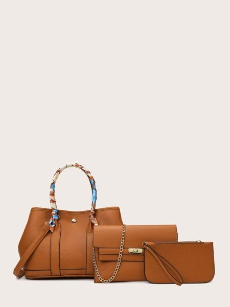 3pcs Scarf & Chain Decor Bag Set