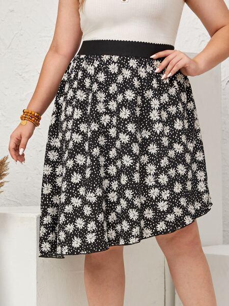 Plus Allover Floral Asymmetric Hem Skirt