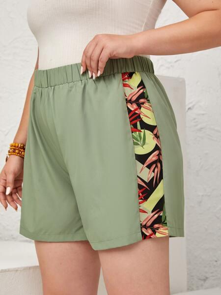 Plus Contrast Plants Print Shorts