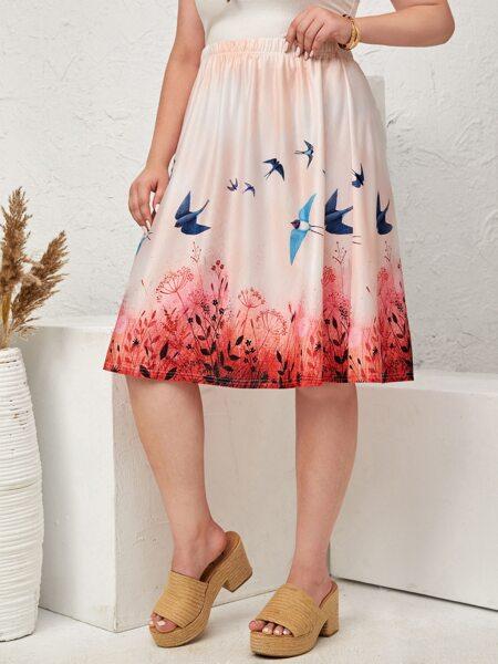 Plus Bird & Plants Print Skirt